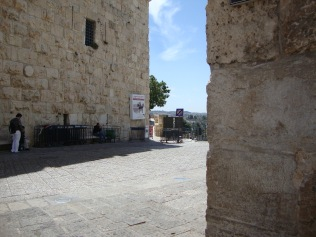 A view of the entrance to the Old City via the road next to Jaffa Gate
