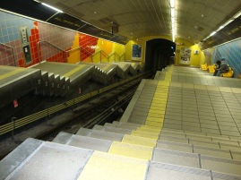 The Carmelit is Israel's only subway. This is one of its stations.