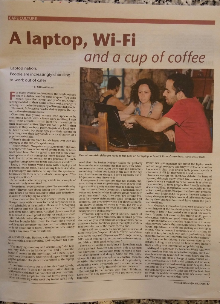 jpost article about laptop work in cafes august 2015